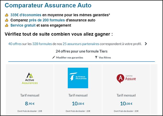 comparateur des assurances auto les moins chères